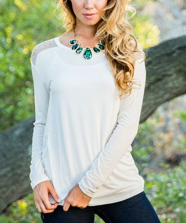 Take a look at this Ivory Embellished Shoulder Top on zulily today!
