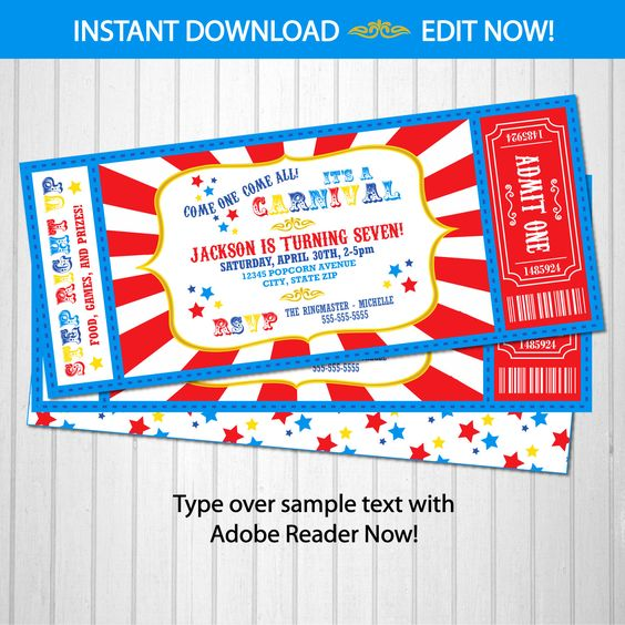 Carnival Theme Party - Carnival Invitation - Carnival Birthday Invitation - Carnival Ticket - INSTANT DOWNLOAD - Edit from home NOW!! by SugarShebang on Etsy https://www.etsy.com/listing/240003997/carnival-theme-party-carnival-invitation