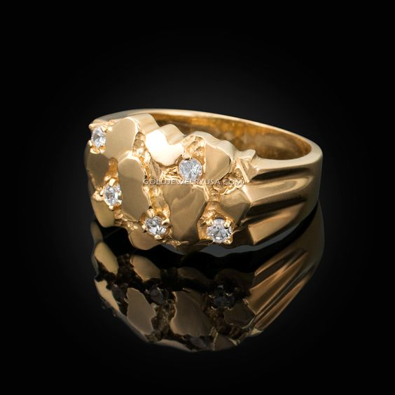 Mens Yellow Gold Cz Nugget Ring Gold Nugget Ring Mens Gold Rings Yellow Gold Mens Rings