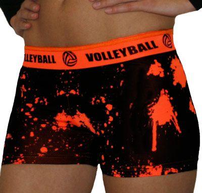 volleyball spandex shorts | Volleyball Orange Splat Printed Flip Waist-Band Spandex Compression ...