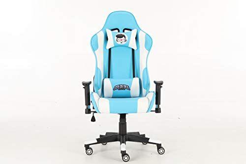 Goldedge Gaming Video Game Ergonomic Comfortable Gaming Chair Pu Leather Light Blue White Goldedge Gaming In 2020 Gaming Chair Gamer Room Decor Gaming Room Setup
