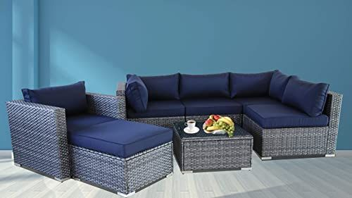 Buy Outdoor Furniture Rattan Couch Wicker Grey 7pcs Sectional