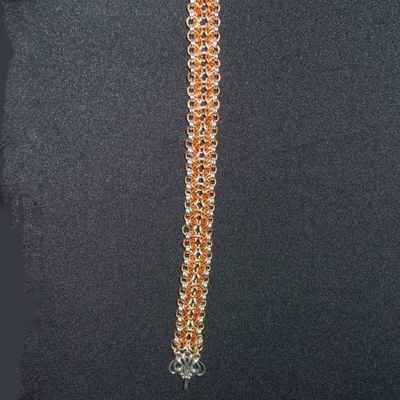 One of our members love Chain Maille.  This is her bracelet with copper and silver wire.