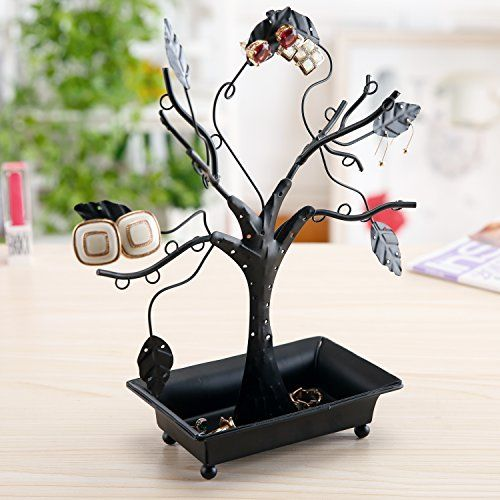 Mygift 12 Inch Earring Holder Stand With Ring Dish Tray Black Metal Necklace Tree Design Jewelry Hangers Jewelry Tree Tree Design Jewelry Black Metal Jewelry