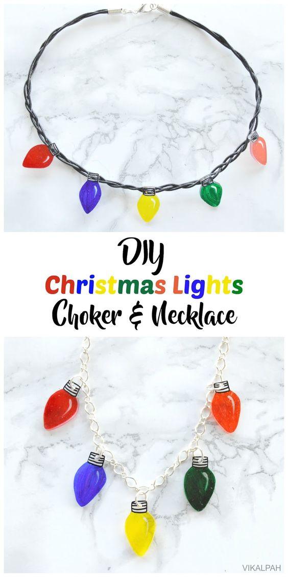 DIY Christmas lights Choker & necklace