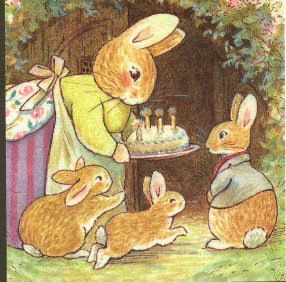 "Momma rabbit,birthday party,""make a wish rue"" cake,foxwood,england postcard"