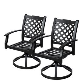 Allen Roth Set Of 2 Carrinbridge Black Slat Seat Swivel