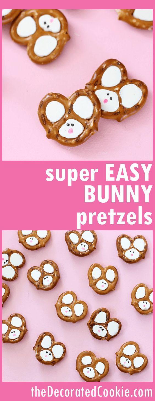 Easy Easter bunny pretzel treats, a cute fun food idea for Easter.