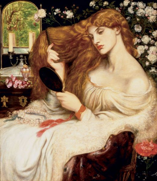 Lady Lilith - Dante Gabriel Rossetti.  Lilith, the subject of this painting, is described in Judaic literature as the first wife of Adam. She is associated with the seduction of men and the murder of children. The depiction of women as powerful and evil temptresses was prevalent in 19th-century painting, particularly among the Pre-Raphaelites. The artist depicts Lilith as an iconic, Amazon-like female with long, flowing hair. Her languid nature is reiterated in the inclusion of the poppy in…