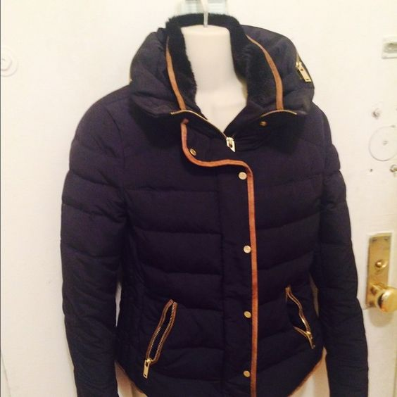 Zara Pre- owned navy puffer jacket with tan suede detail, hood, fur collar and gold hardware zippers . Zara Jackets & Coats Puffers