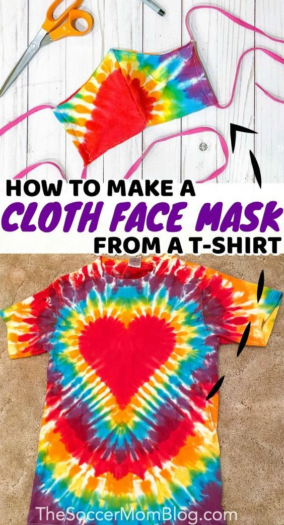 Learn how to make your own cloth face mask using an old t-shirt! This tutorial is super easy to make, even if you don't have a sewing machine! Make sure you don't leave the house with out your new diy cloth face mask! This is the perfect craft for parents who need to get groceries or go out into public while this pandemic is going on. #diy #crafts #facemask #easy #health