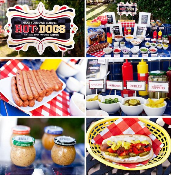 bbq hot dog bar, super easy dinner or just ongoing food at the reception for people who get the munchies :):