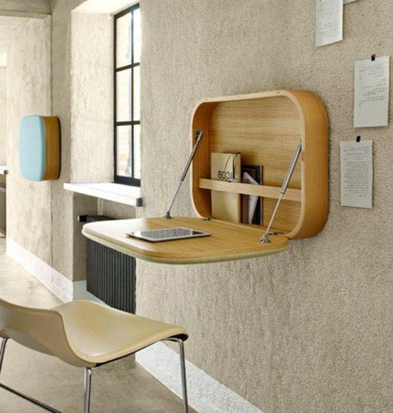 astuce rangement chambre de séJour avec une jolie table murale escamotable
