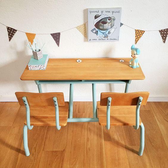 bureau pupitre ecolier vintage enfant chouette fabrique 2 maison pinterest vintage et. Black Bedroom Furniture Sets. Home Design Ideas