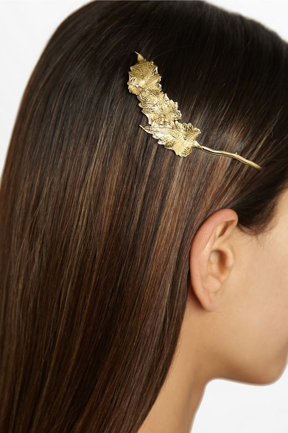 Ana Khouri|Leaf 18-karat gold hair pin|NET-A-PORTER.COM