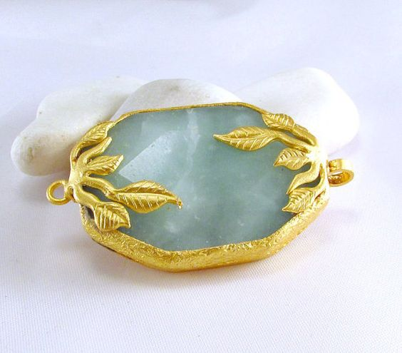 SPECIAL Blue Aragonite Gold Plated Connector by ShiShisBoutique, $9.50