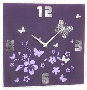 Viola Orologio da parete in vetro con decorazione farfalla - HP020086: Amazon.it: Casa e cucina