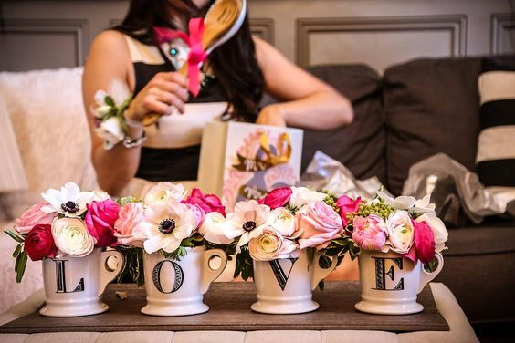 Kate Spade Inspired Bridal Shower at 14 & Hudson in Piermont, New York. Black, White, Pink, Love mugs, anemonies, ranunculous, stripes