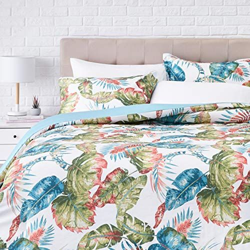 Amazonbasics 300tc 100 Cotton Comforter Set Reversible 3 Piece Super Soft Full Queen Multi Colored Green Palms Gift Options Showcase In 2020 Comforter Sets Cotton Comforter Set Comforters