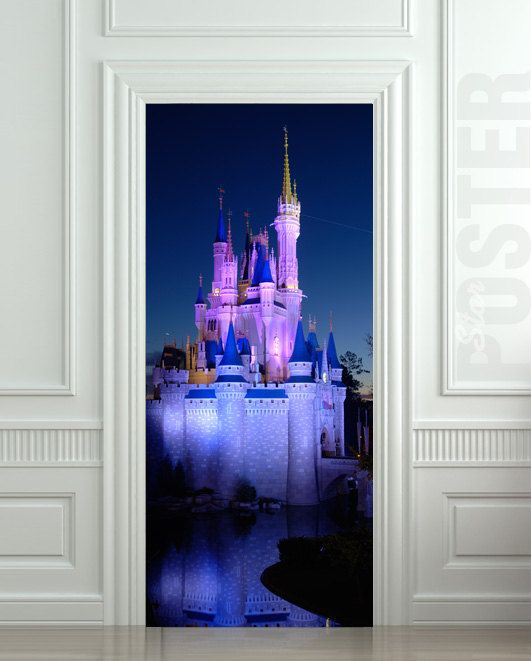 Door sticker disney castle palace park amusement mural for Castle wall mural sticker