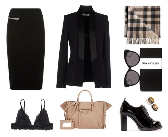 """""""Untitled #31"""" by martagiovanzana ❤ liked on Polyvore featuring Monki, Valentino, Whistles, Blanc & Eclare, Burberry, Victoria Beckham, Balenciaga and Forever 21"""