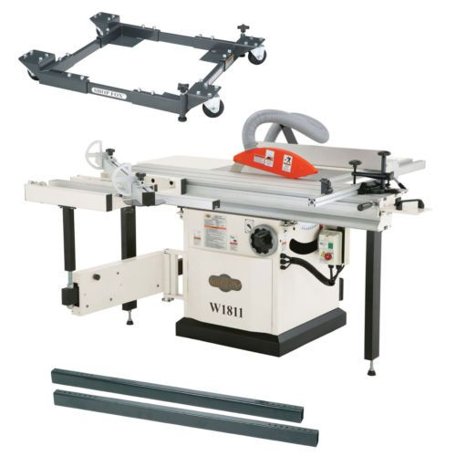 Shop Fox W1811 5 Hp 10 Inch Sliding Table Saw With D2058a Mobile Base Bars Sliding Table Saw Sliding Table Table Saw