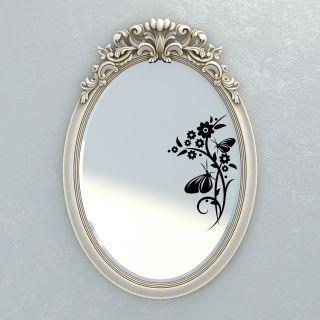 Наклейка на зеркала от 2stick.ru Две бабочки сидят на растении с изумительными цветами: