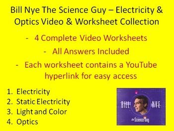 here is a collection of four bill nye the science guy electricity and optics video worksheets. Black Bedroom Furniture Sets. Home Design Ideas