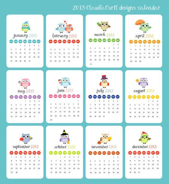 Hanging Calendar Design : Calendar owl designs desk wall hanging