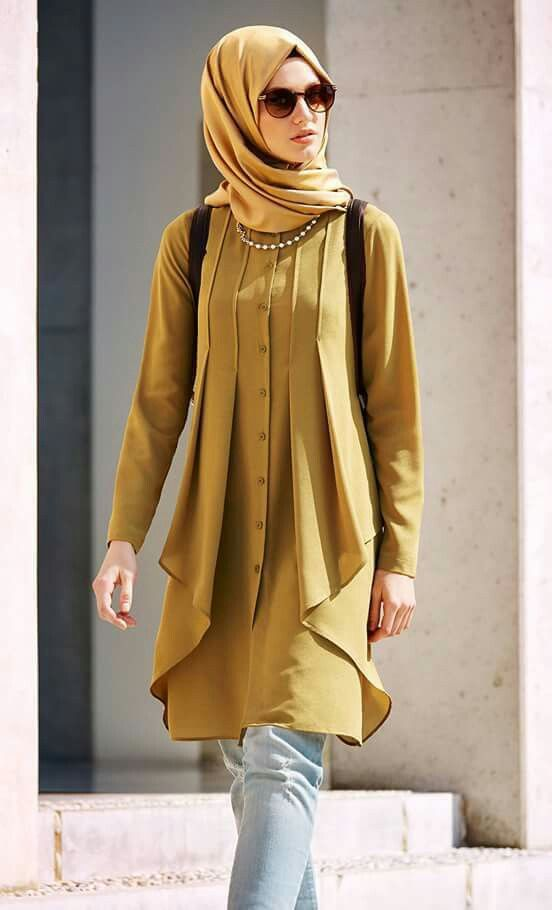 Mustard Brown Office Wear Hijab Collection