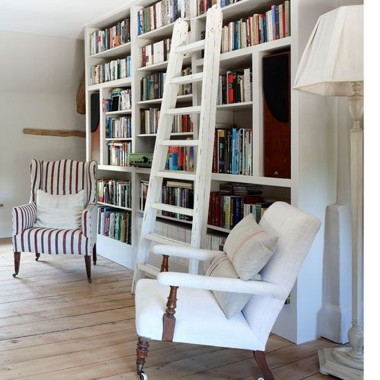 create a library by devoting a wall to books