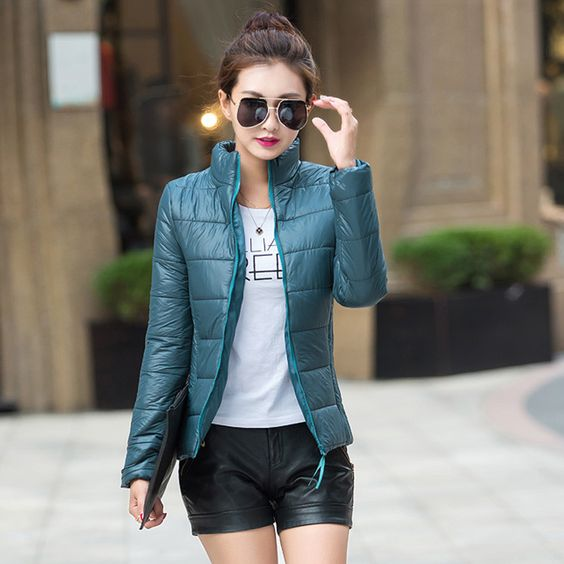 2016 Winter Autumn jacket women stand collar long-sleeve short paragraph thin and light jacket female coat big yards women