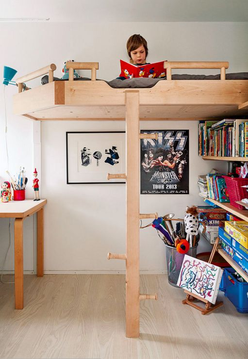 Get creative with vertical space. | 17 Scandinavian Kid's Room Design Ideas You'll Want To Steal