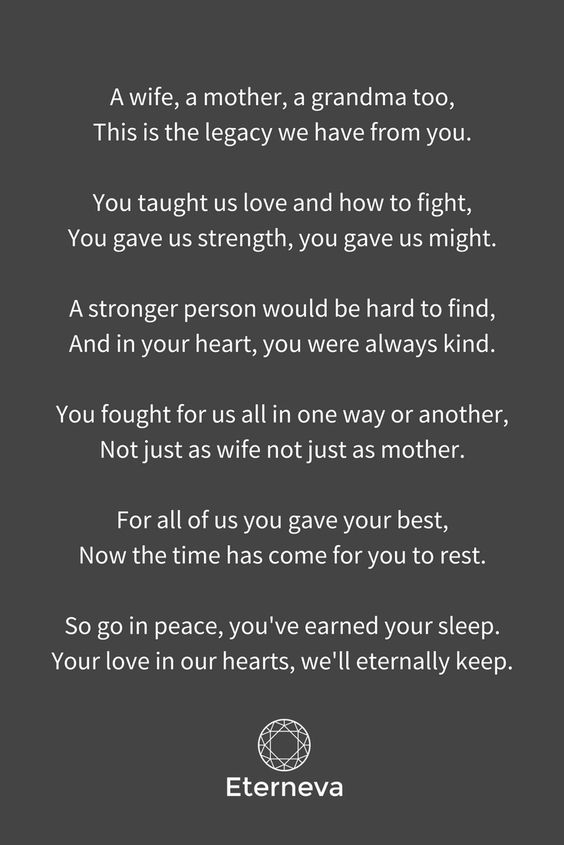 The perfect funeral poem for a wife, mother or grandmother
