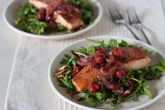 ... arugula salmon arugula and more arugula salad salmon cherries warm