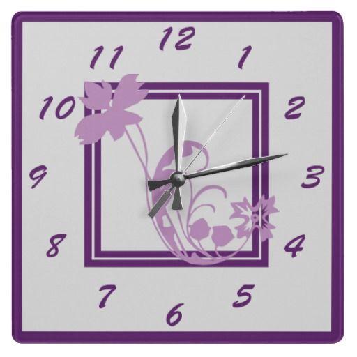 Violet Flower Frame Wall Clock by Sand Creek Ventures
