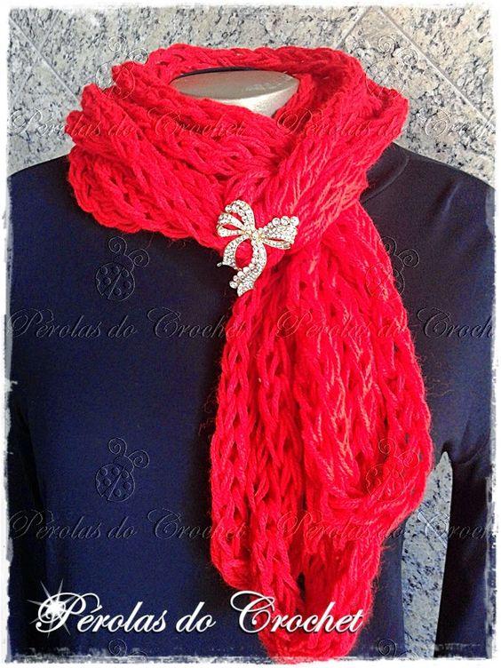 * Pérolas do Crochet feito com trico de dedo