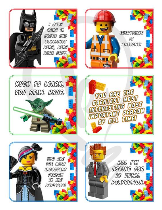 """""""Lego Movie"""" lunch notes for the kiddos!"""