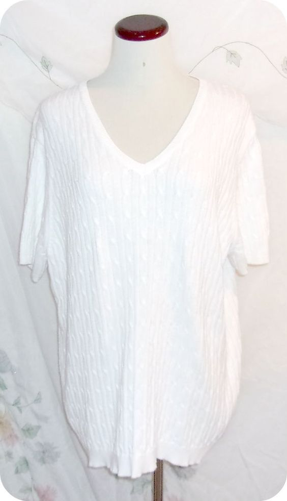 Cherokee Womens Top Plus Size 1X  White Short Sleeve Cable Knit Sweater Cotton #Cherokee #KnitTop #CareerCasual #Fashion #Clothing #Womens #Plussize #Size1X