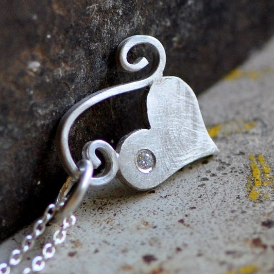 petite sterling silver heart pendant with flush set by 2TrickPony, $197.00