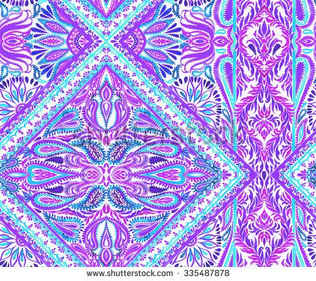 seamless placement ornamental pattern. beautiful elements and details,paisleys, swirls, border, and lace. Swimwear cover-up layout. - stock photo