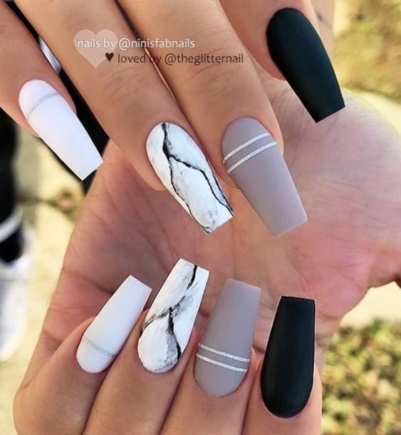 These 25 Options Have Reached Not Only The Ombre Black Long Acrylic Coffin Nail Design Ideas But Al Matte White Nails Marble Acrylic Nails Pretty Acrylic Nails