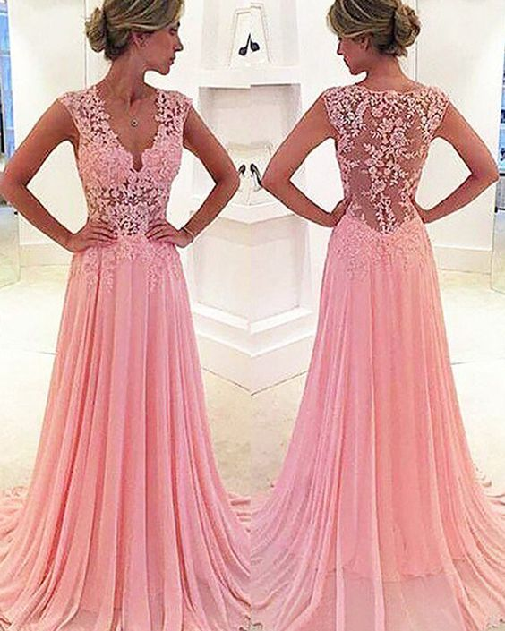 v-neck blush pink lace bodice chiffon prom dress, long pleated formal dress