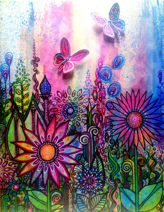 Jubilantgood - doodle canvas with acrylic and ink and butterflies ...