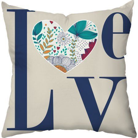 Checkerboard Lifestyle Flowerly Love Throw Pillow, Multi-Color, Multicolor