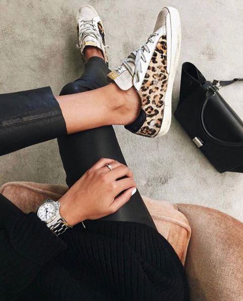 Golden Goose | leopard print sneakers seen on @sincerelyjules1