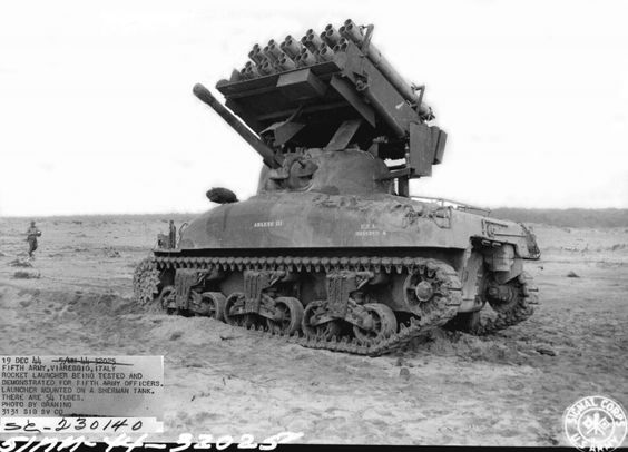 "American M4A1 tank with the rocket launchers T34 ""Calliope ..."