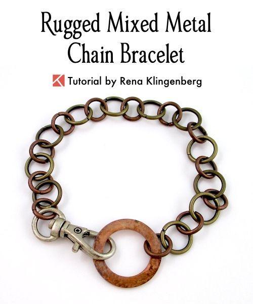 Rugged Mixed Metal Chain Bracelet Tutorial Diy Mens Bracelet