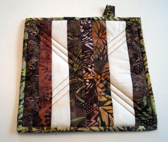 Striped Batik Quilted Pot Holder Patchwork Hot by MyBitOfWonder