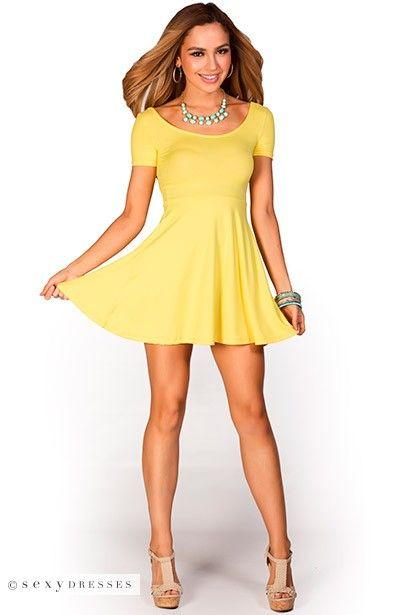 Brynn&quot- Yellow A-Line Empire Waist Casual Short Sleeve Dress ...